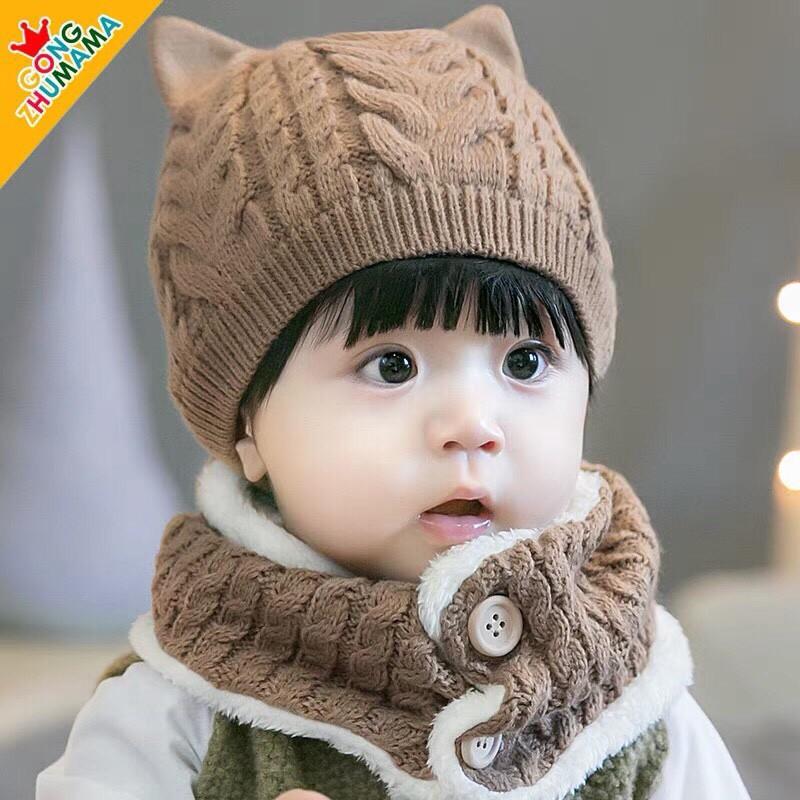 Mũ len cho bé có kèm khăn CÀI CÚC cho bé - MS14 | Shopee Việt Nam