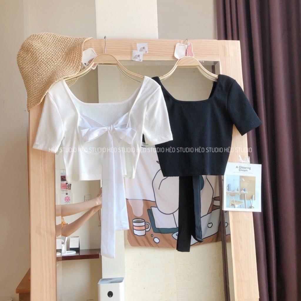 Mặc gì đẹp: Gợi cảm với Áo Croptop Buộc Nơ Lưng GenY - Áo Croptop Kiểu Nữ Ôm Body Thun Gân Siêu Xinh