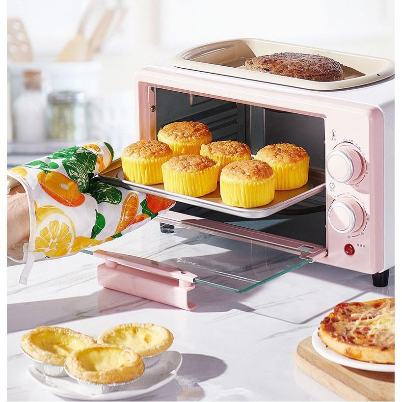 Lò Nướng Tích Hợp Chảo Rán Đa Năng Mini SALAY, rã đông, nướng bánh Công Suất Lớn 800W