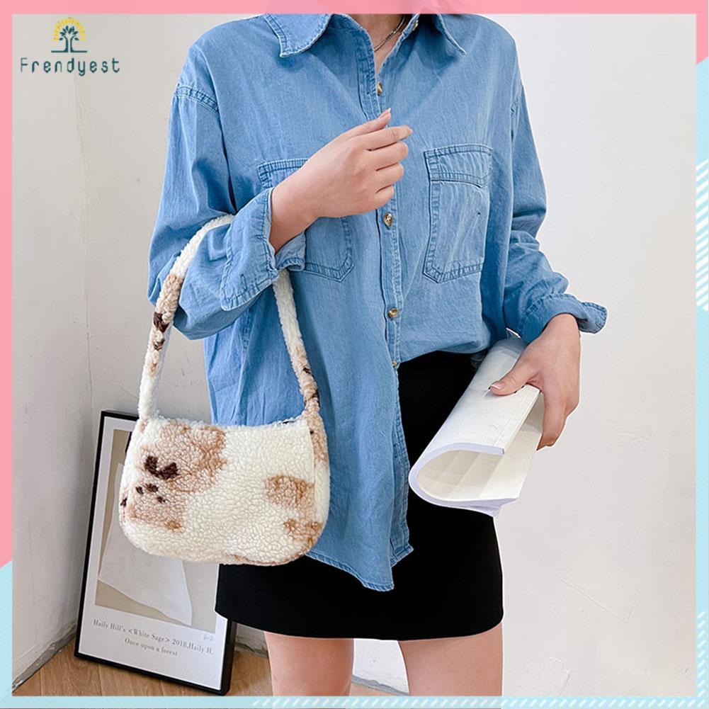 Túi xách lông họa tiết gấu hoạt hình dành cho nữ