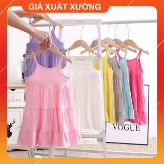 Váy bé gái 2 dây nhiều màu, đầm cho bé từ 2 đến 12 tuổi chất cotton, size đại 40kg