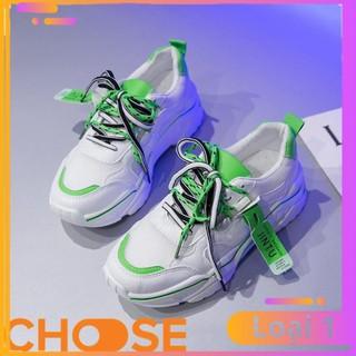 Giày Nữ Độn Đế Sneaker Thể Thao Nữ Choose Viền Màu Nổi Bật Đặc Sắc Xanh Vàng Hồng Trắng G2911