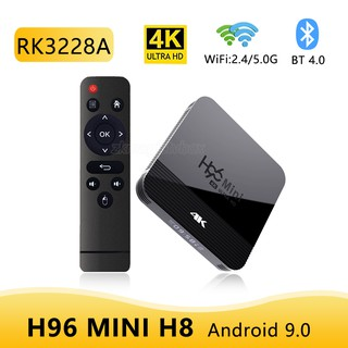 Đầu Smart Tv Box Android H96 Mini H8 Android 9.0 2Gb 16Gb Rk3228 2.4g/ 5G Wifi Bt4.0 4k Cao Cấp