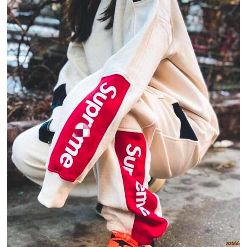 supreme 19ss กางเกงขายาวสีตัด