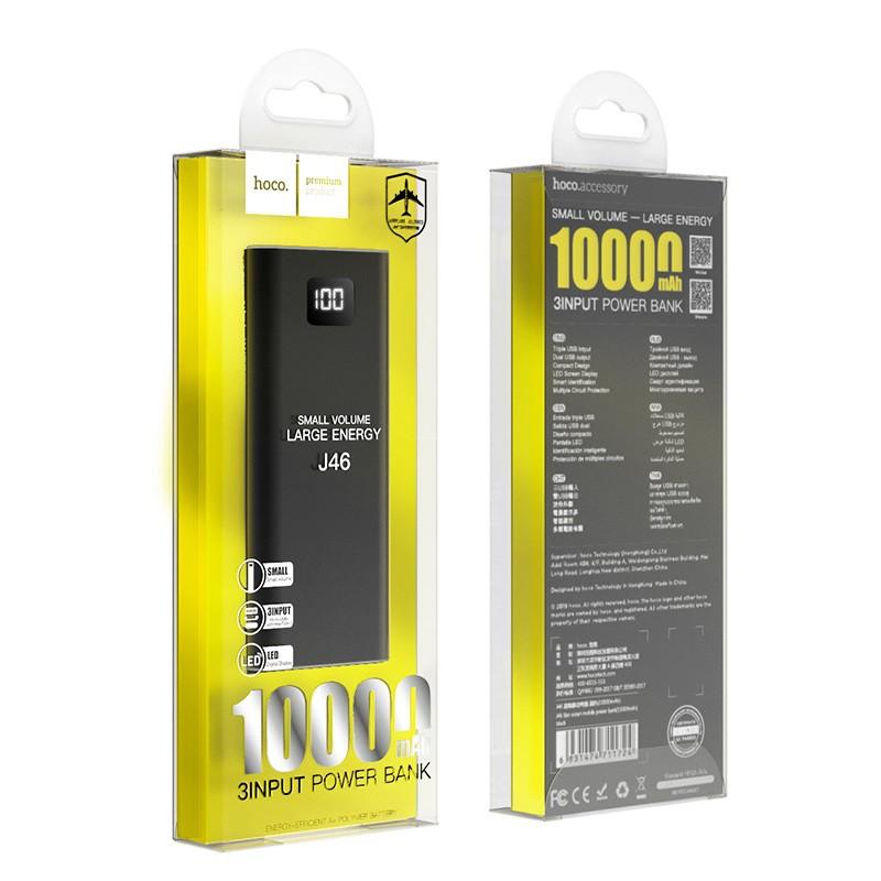 Pin sạc dự phòng di động HOCO J46 Star Ocean dung lượng 10000mAh, đầu ra 2 cổng USB 2A, màn hình LED -  Hàng chính hãng
