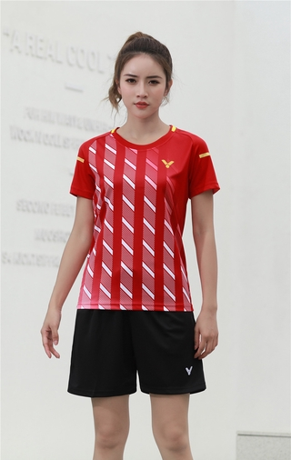 2021 New Arrival victory Badminton Clothes Breathable Quick-Dry Stripe Jersey Shirts+Shorts woman Sets Couple Sets red white