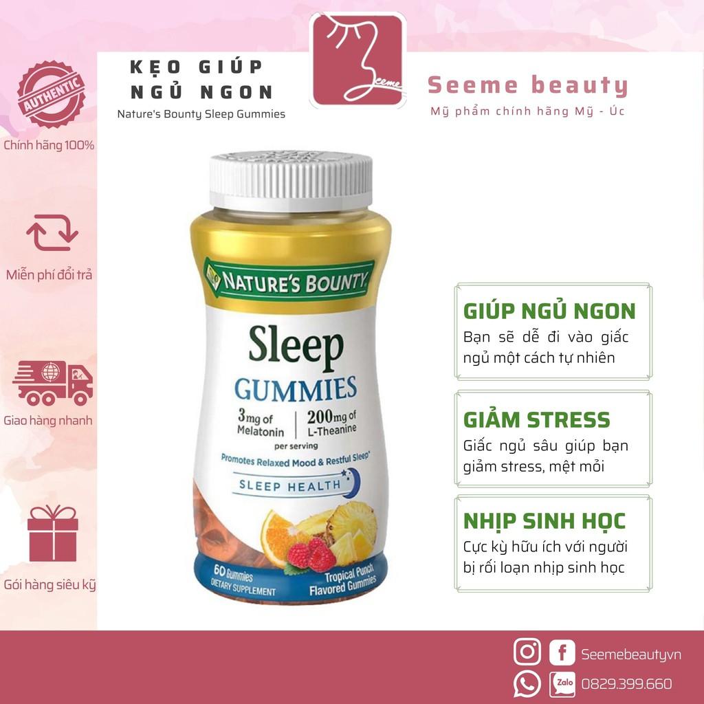 [HÀNG MỸ] Kẹo Dẻo Nature's Bounty Sleep Gummies 3mg Melatonin Hỗ Trợ Giấc Ngủ 60 viên [SeeMe beauty]