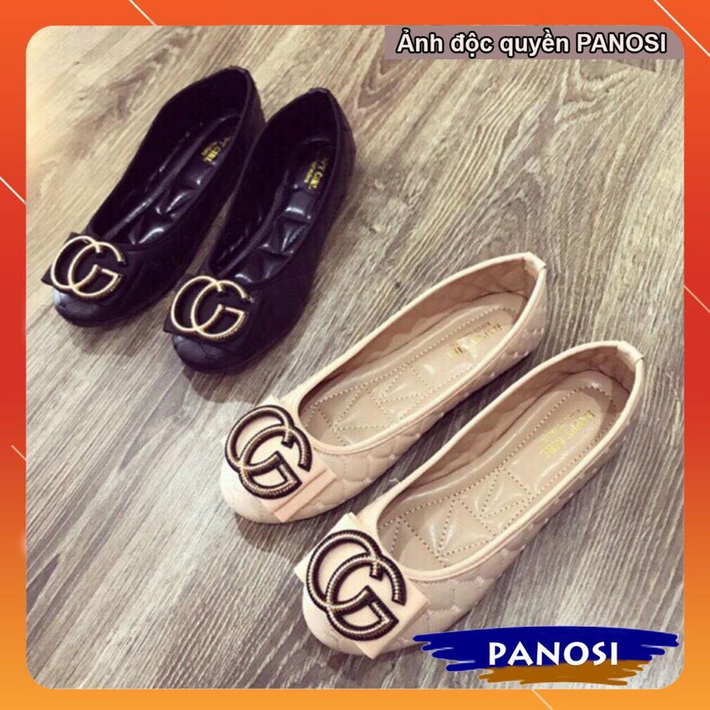 Giày nữ búp bê đế bệt trần trám CC êm chân 2 màu đen và kem