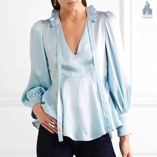Graceful Pure Color Puff Sleeves Ruffled Silkshirt