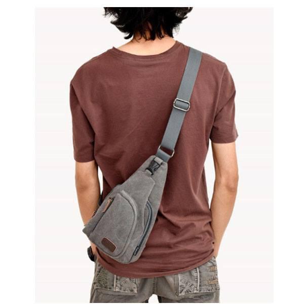 Túi đeo chéo trước ngực phong cách vải bố 2018 Giá sock[Màu ghi xám]