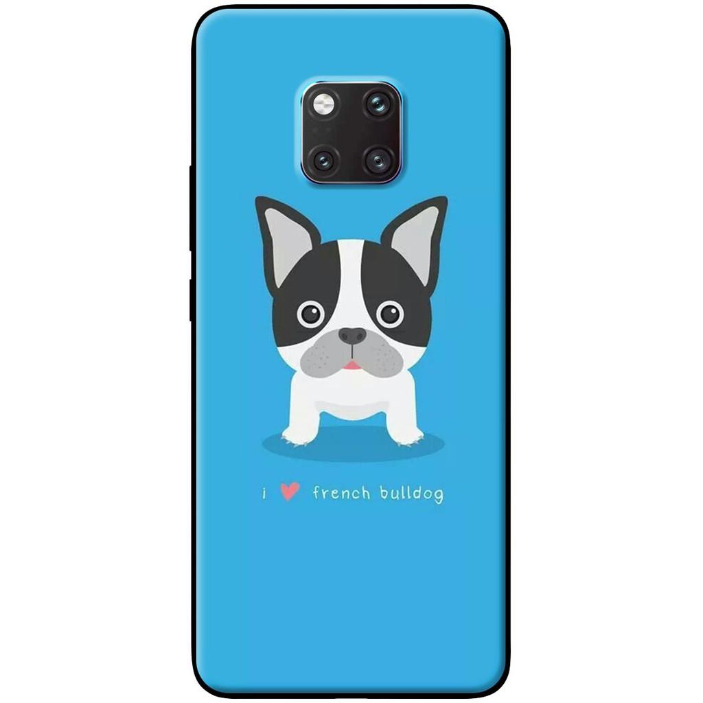 Ốp lưng nhựa dẻo Huawei_Mate_20 Chó bull nền xanh (Mã SP: HWM20-CBNX1) (hàng chất lượng cao)