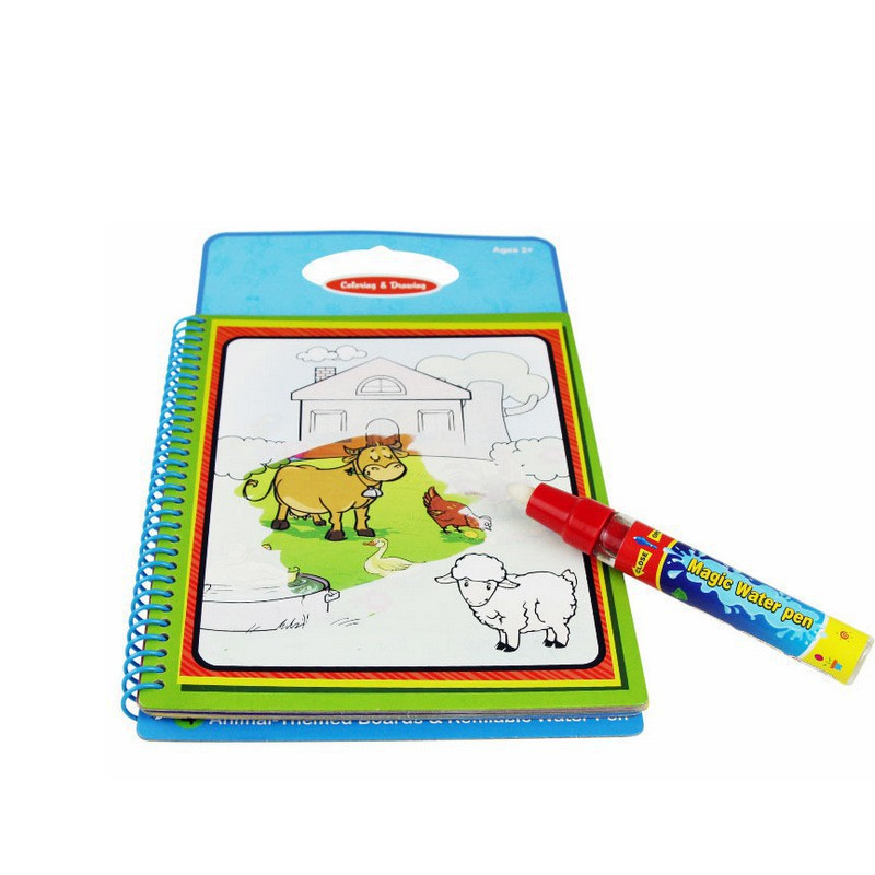 Animal Theme Kids Paper Magic Water Writing Drawing Books with Water Pen