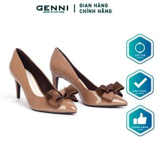 Giày cao gót nơ nhũ gót nhọn GE031 - Genni