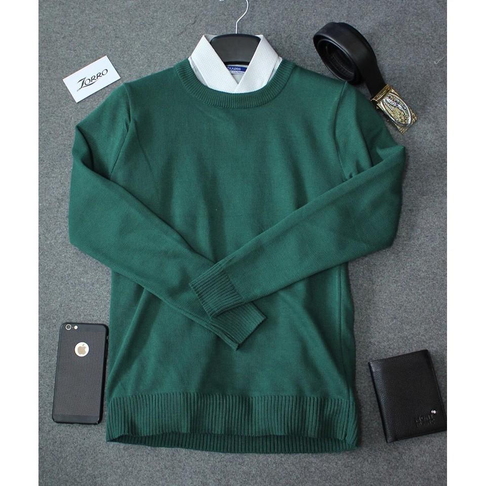 Áo len trơn cổ tròn nam màu xanh lục  - áo len ấm - Áo len phong cách Hàn Quốc