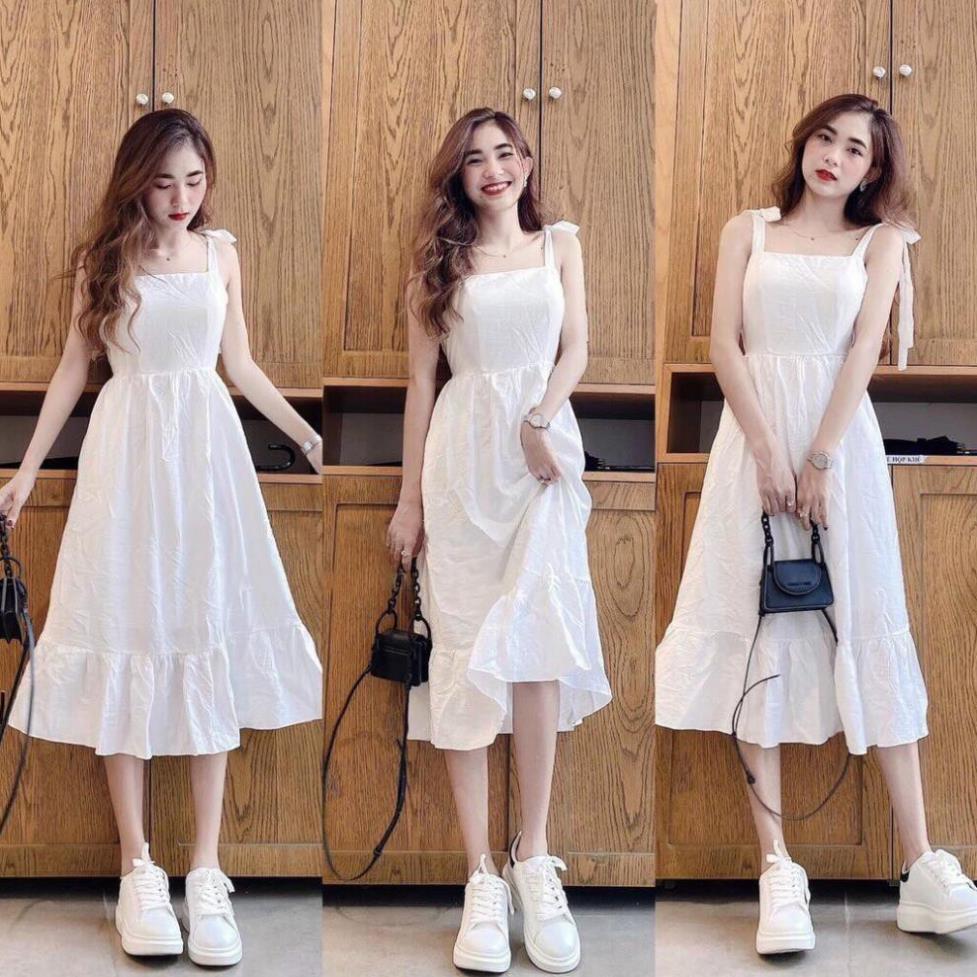 Váy Nữ 2 Dây, Đầm nữ 2 dây Dáng Suông Họa Tiết Màu Trắng Tinh Khôi, Hàng Cao Cấp