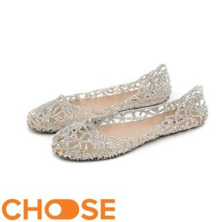 Giày Nữ Giày Búp Bê Choose Nhựa Lưới Trong Suốt Kim Tuyến G1803 thumbnail