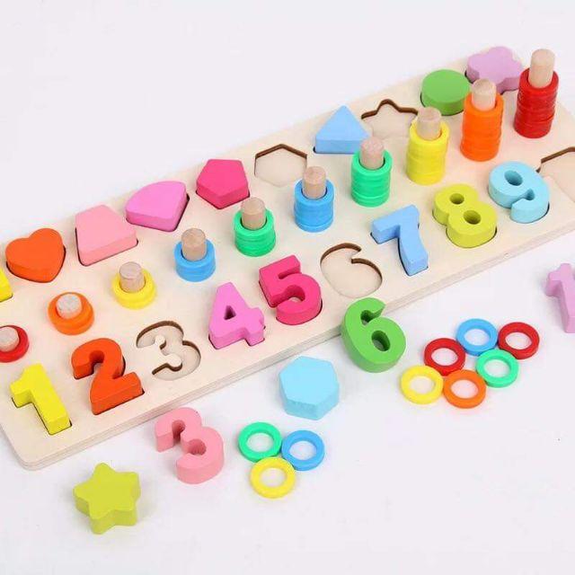 Bộ học hình dạng số học bằng gỗ