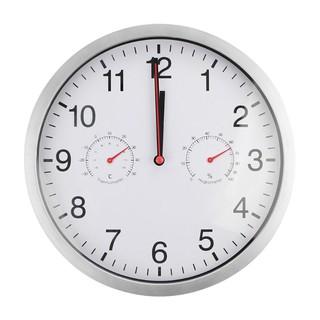 Metal Silent Quartz Wall Clock Quiet Sweep Movement Thermometer Hygrometer