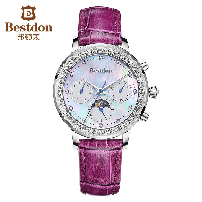 Đồng hồ nữ Bestdon BD5521L dây da mặt Trắng quai tím