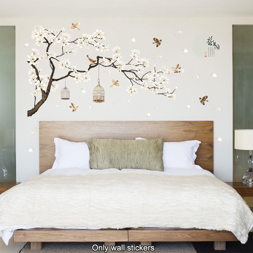 2Pcs/pack Flower Home Decor Moon Wall Sticker Fairy Beautiful Tree Removable Art Decal