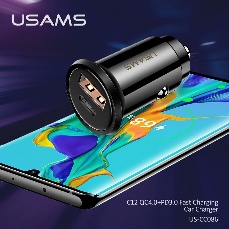 Bộ Sạc Trên Xe Hơi USAMS C12 Qc4.0 Pd3.0 for IPHONE OPPO SAMSUNG HUAWEI VIVO XIAOMI