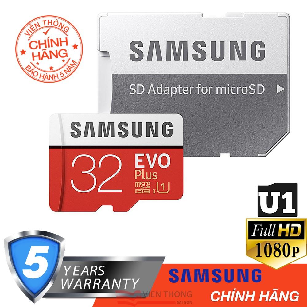 Thẻ nhớ 32GB Micro SD Samsung Evo Plus 95MB/s U1 Class 10 (Kèm Adapter) - Hãng phân phối thức