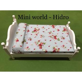 Mô hình giường gỗ mini dùng cho trang trí nhà búp bê tỉ lệ 1/8