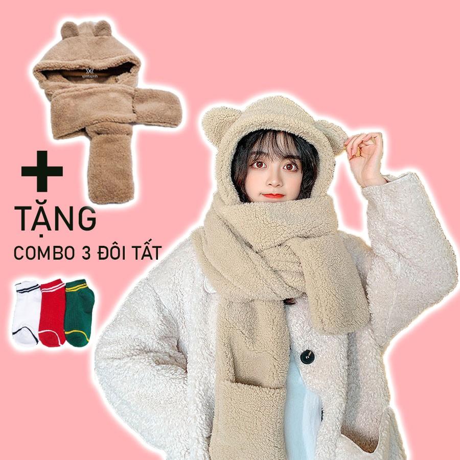 Mũ lông cừu tai gấu kèm khăn quàng cổ và găng tay ấm áp ulzzang Hàn Quốc - Xinh Xinh Accessories