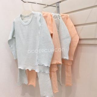 [Sale 119k] SL021 Bộ quần áo trẻ em dài tay bèo gấu La pomme 100% sợi Melange Cotton không hóa chất cho bé gái