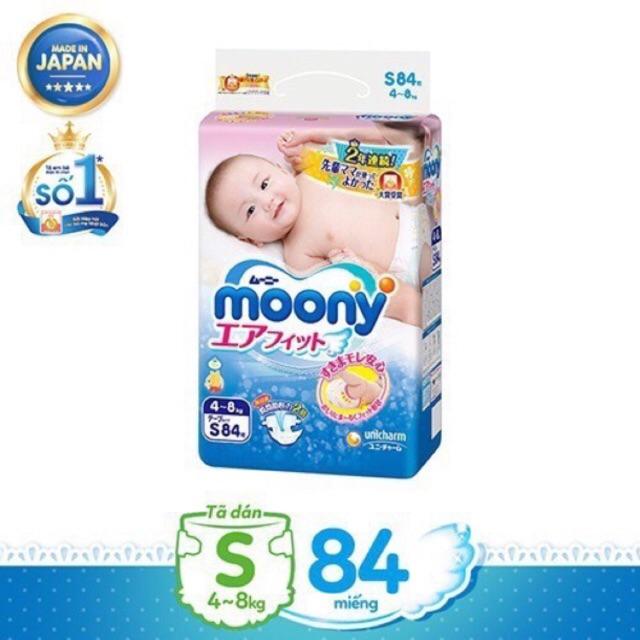 [Tặng khăn tắm Nhật] Tã quần và dán moony S84/ M64/ M58/ L54/ L44/ XL38/ XXL26
