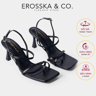 Giày cao gót Erosska phối dây xỏ ngón cao 7cm màu đen _ BM004