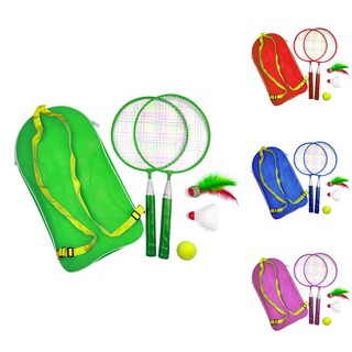 1 Set Baby Badminton Rackets Outdoor Sport Suit Toy With Backpack