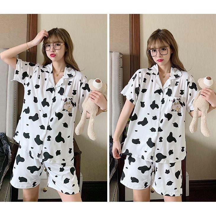 Mặc gì đẹp: Ngủ ngon hơn với Đồ ngủ bò sữa, đồ bò sữa pijama cộc tay cotton thoáng mát, thấm hút mồ hôi