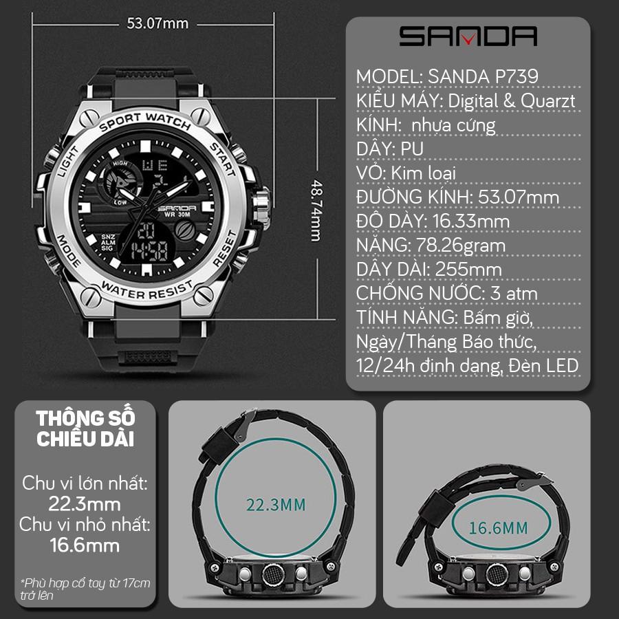 Đồng hồ Nam Sanda 739 Chạy 2 máy - Tặng hộp +Pin
