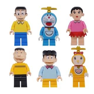 bộ 6 nhân vật đồ chơi lego giống minifigure doremon