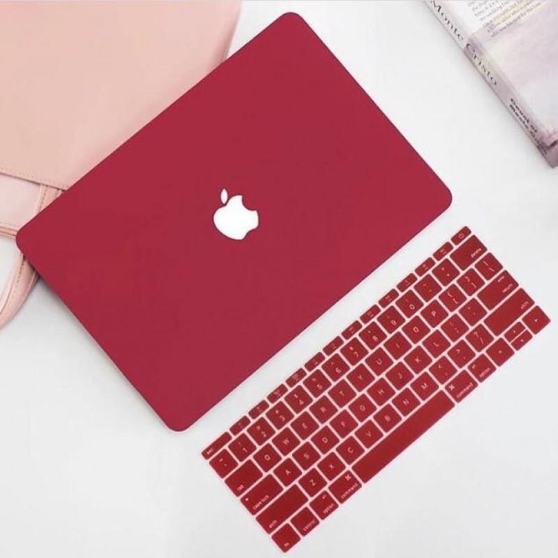 Ốp + Phủ Phím Macbook Đỏ Đô ( Tặng Nút Chống Bụi )
