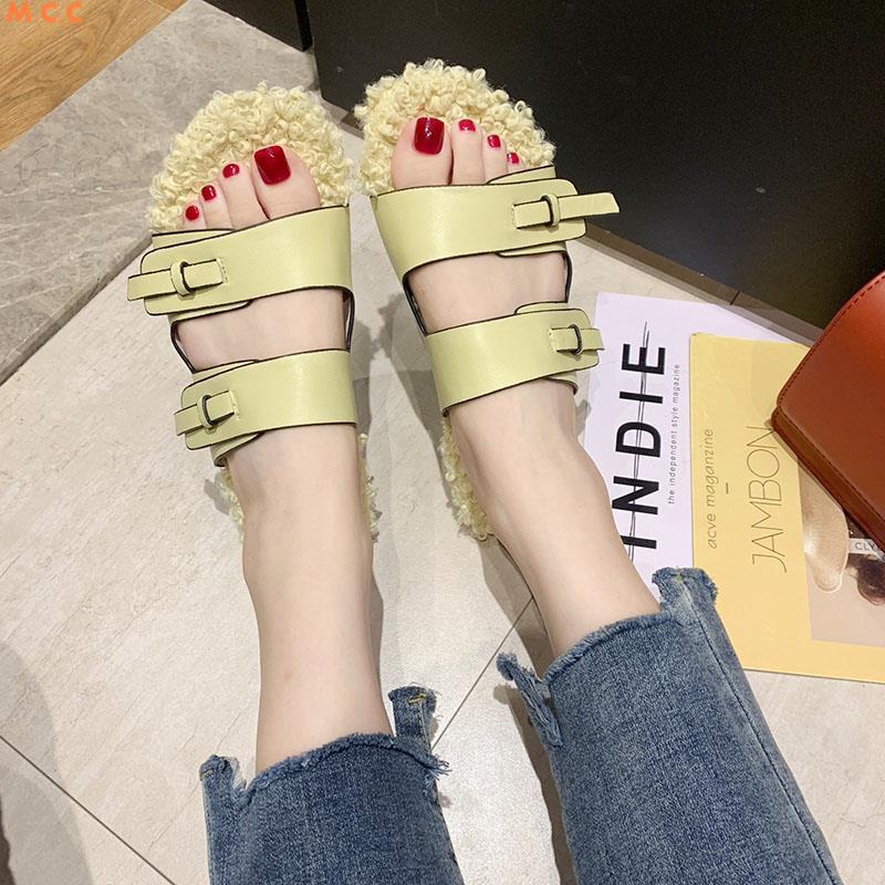 สุทธิรองเท้าแตะแฟชั่นสีแดงหญิง 2019 ฤดูใบไม้ร่วงใหม่สวมเวอร์ชั่นเกาหลีของขนป่าลากนักเรียนรองเท้าแตะลำลองแบน