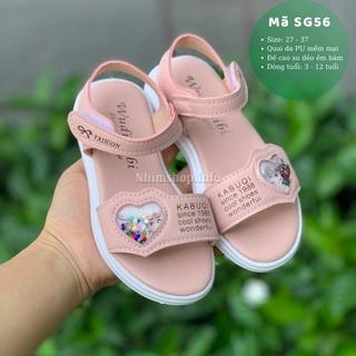 Sandal bé gái 3 – 12 tuổi quai ngang họa tiết Elsa Anna da mềm quai hậu thời trang phong cách Hàn Quốc SG56