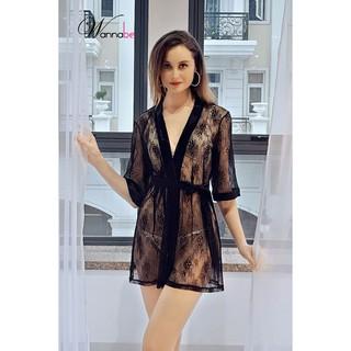 Áo choàng ngủ Wannabe KI625 ren hoa sang trọng quý phái thumbnail