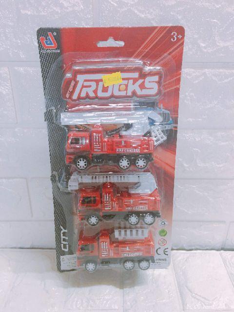 Vỉ 3 xe cứu hỏa- xe nhựa đồ chơi