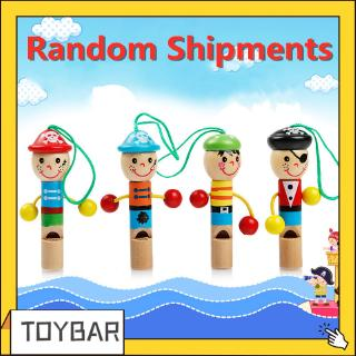 【0-2 Years】Children's Toys Cartoon Mini Whistle Wooden Wind Instrument