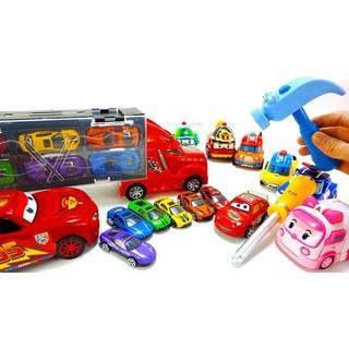 Sét xe tải và 6 xe đua nhỏ cho bé trai