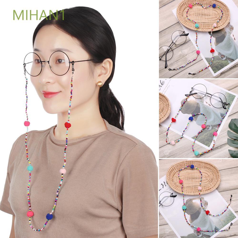 MIHAN1 Women Men Colorful Beads Plush ball Sunglass Reading Glasses Glasses Chain