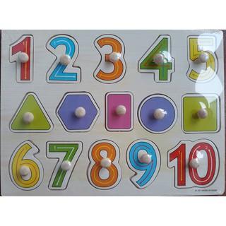 bảng núm gỗ số và hình
