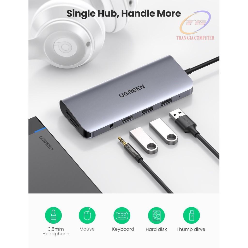 [Mã 267ELSALE hoàn 7% đơn 300K] Hub USB Type C tích hợp HDMI, VGA, 3.5mm, LAN, USB, Đọc Thẻ, Sạc USB C PD Ugreen 80133