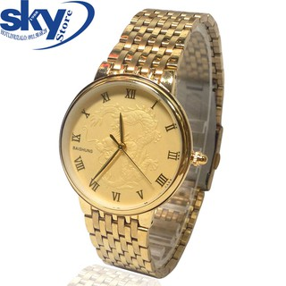 Đồng hồ nam Baishuns DM067999 dây kim loại chạm rồng (Vàng)