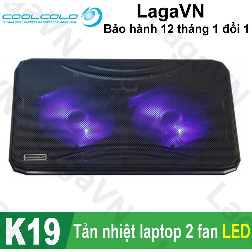 [Freeship toàn quốc từ 50k] Đế tản nhiệt laptop COOLCOLD K19 2 Fan (Đen)