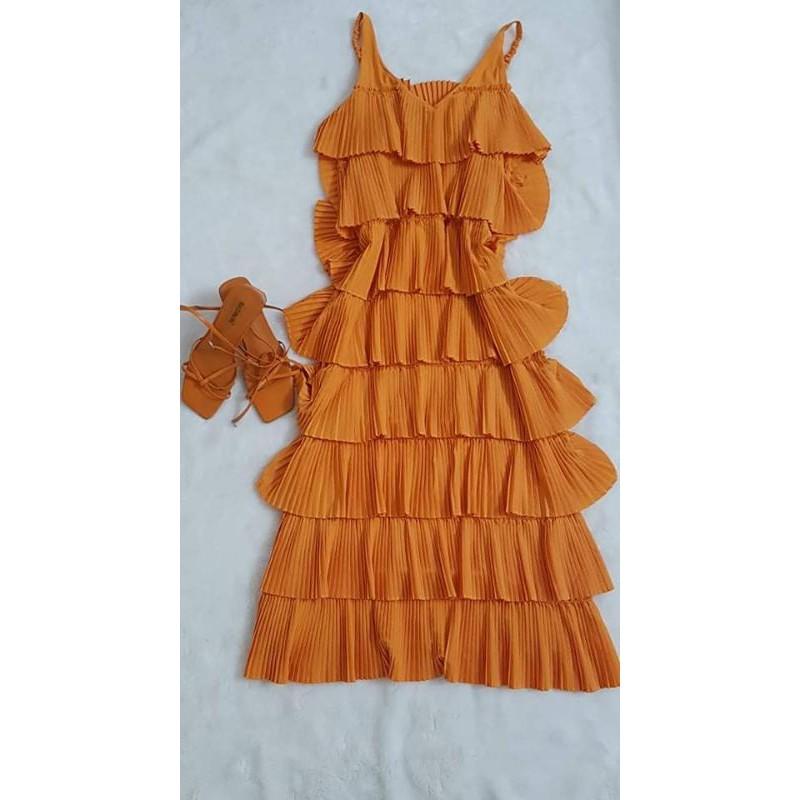 váy tầng cam