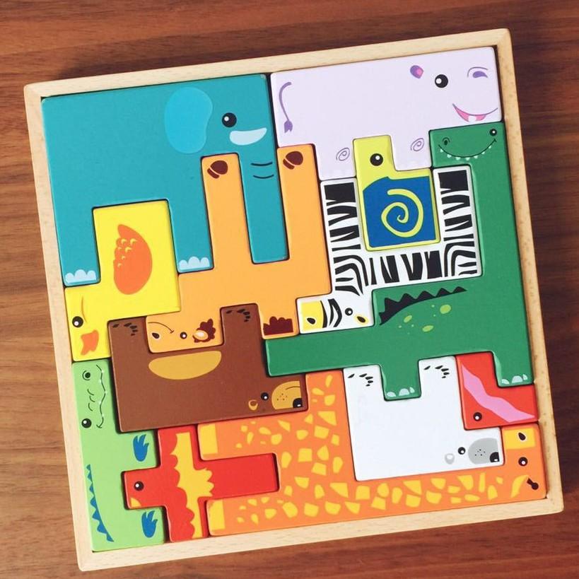 Đồ Chơi Gỗ Vivitoys - Bảng xếp hình Tetris Động vật, Đồ chơi xếp hình thông minh ch