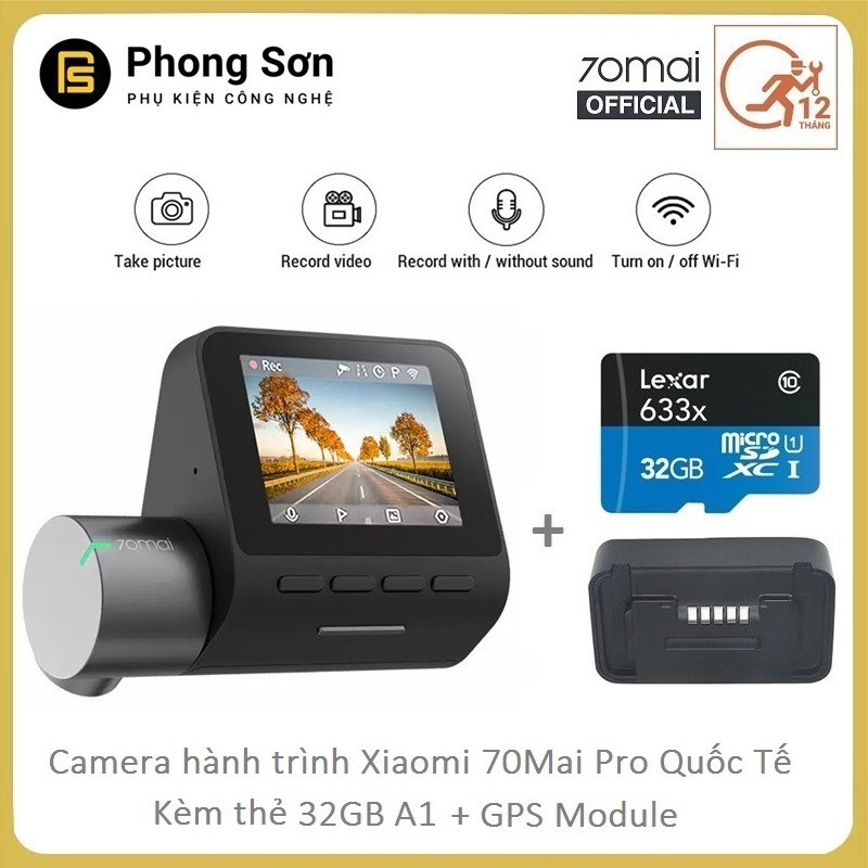 Camera hành trình Xiaomi 70mai Dash Camera Pro + Kèm 32GB A1 Lexar + Module GPS